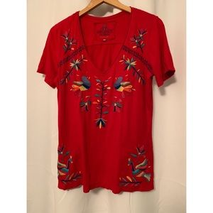 Johnny Was Red Embroidered Tee T-shirt Size M Bird